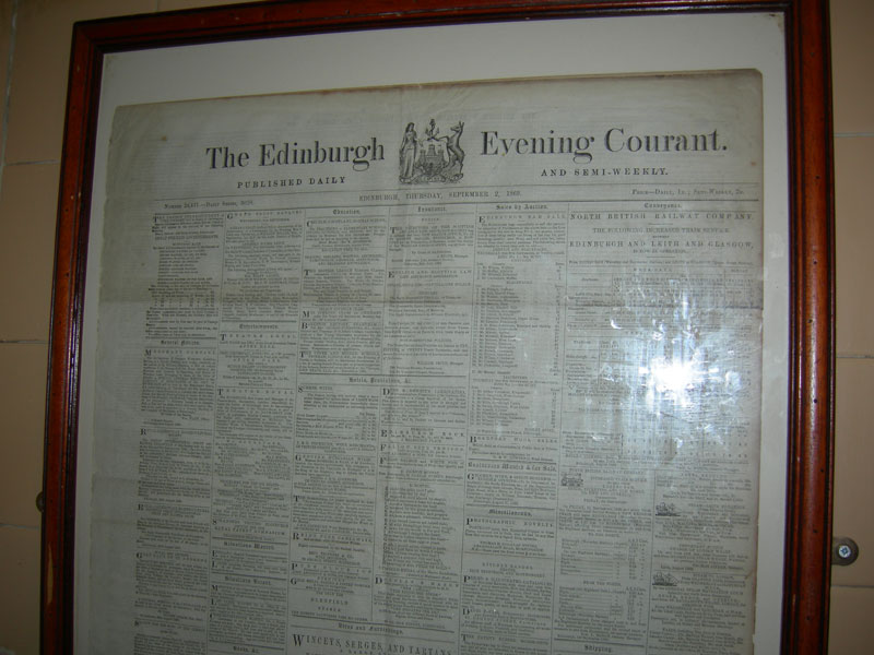 A newspaper from 1848 in the bathroom at the Sheep's Heid