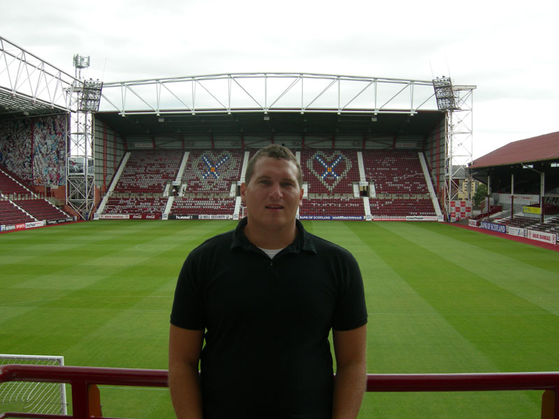 Looking over the field at Tynecastle Stadium