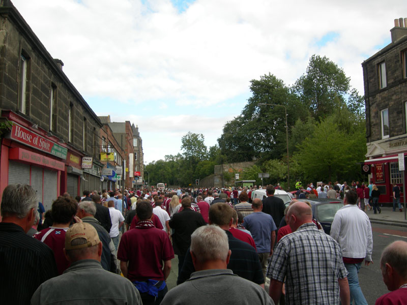Fans leaving Tynecastle stadium after the Hearts tied Falkirk 0-0