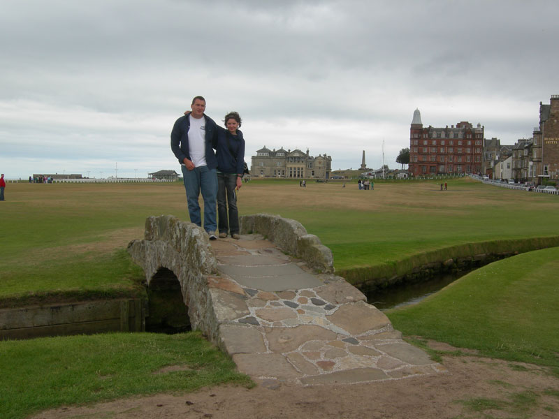Becky and I on the bridge at the 18th hole on St. Andrews