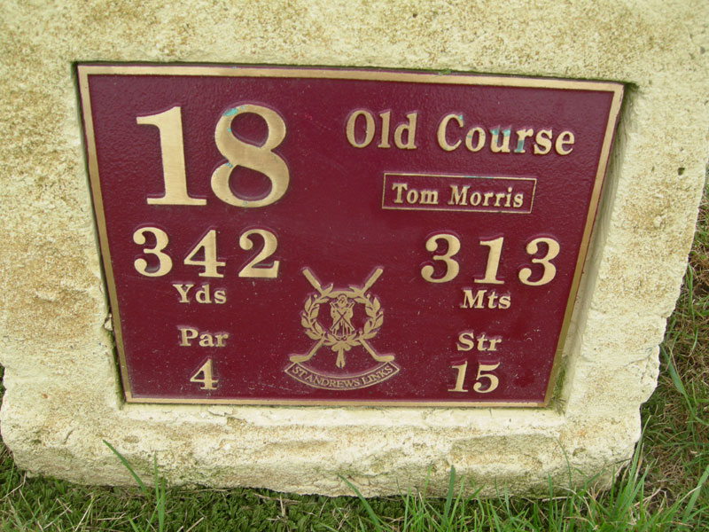 The 18th tee marker at the old course at St. Andrews