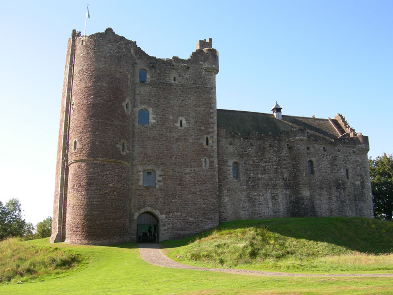 The front entrance to Doune castle in Scotland