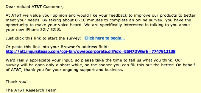 AT&T Survey Invite