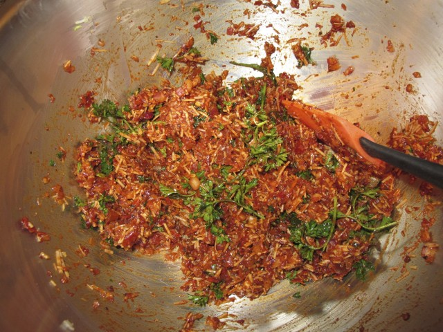 Mix Together Sausage Seasonings (in this case Chipotle peppers, garlic, onion, parsley, romano cheese, pepper, paprika)