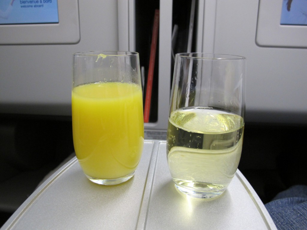 Champagne and Orange Juice on Air France