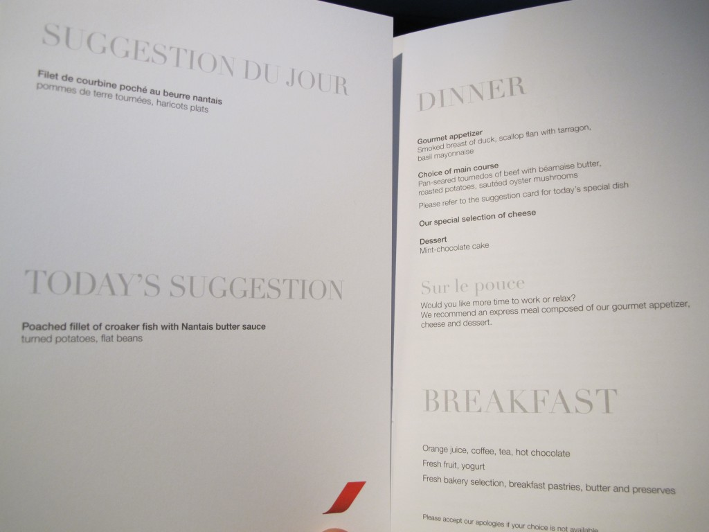 Menu Options - Air France Business Class