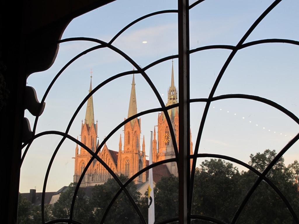 Church through the window